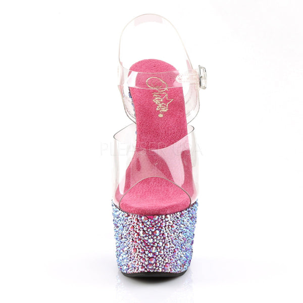 Pleaser BEJEWELED-708MS Clear Ankle Strap Sandals With Hot Pink Multi Rhinestones Platform - Shoecup.com - 2
