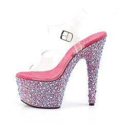 Pleaser BEJEWELED-708MS Clear Ankle Strap Sandals With Hot Pink Multi Rhinestones Platform - Shoecup.com - 3