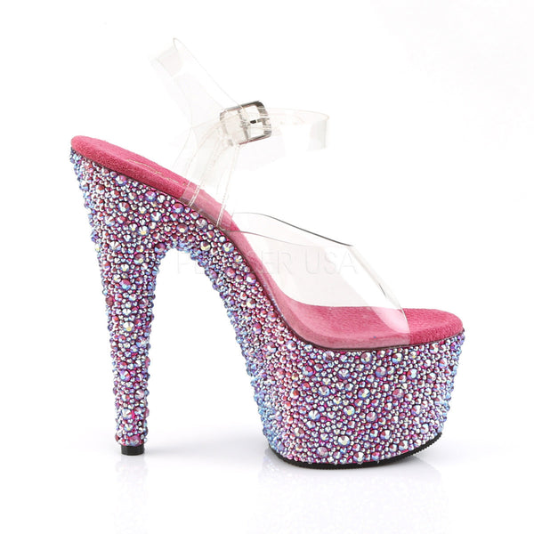 Pleaser BEJEWELED-708MS Clear Ankle Strap Sandals With Hot Pink Multi Rhinestones Platform