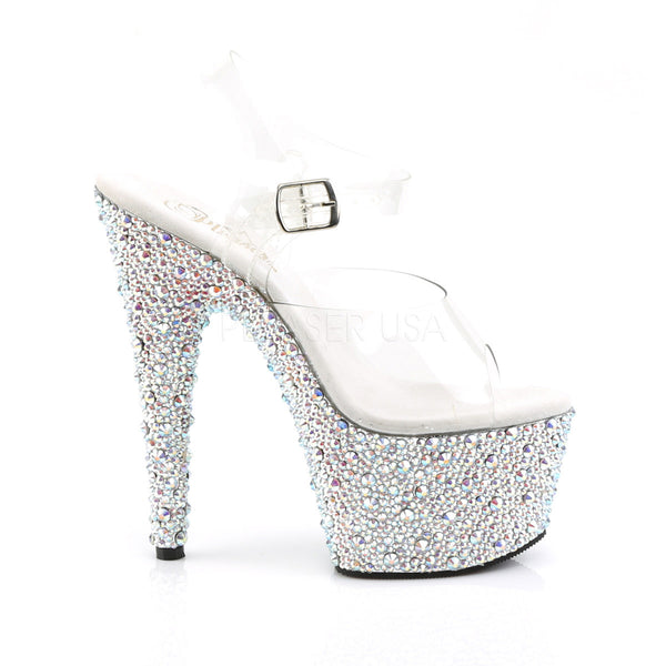 Pleaser BEJEWELED-708MS Clear Ankle Strap Sandals With Silver Multi Rhinestones Platform