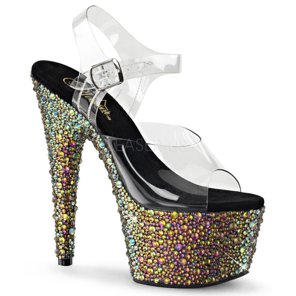 Pleaser BEJEWELED-708MS Clear Ankle Strap Sandals With Green Multi Rhinestones Platform - Shoecup.com - 1