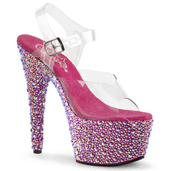 Pleaser BEJEWELED-708MS Clear Ankle Strap Sandals With Hot Pink Multi Rhinestones Platform - Shoecup.com - 1