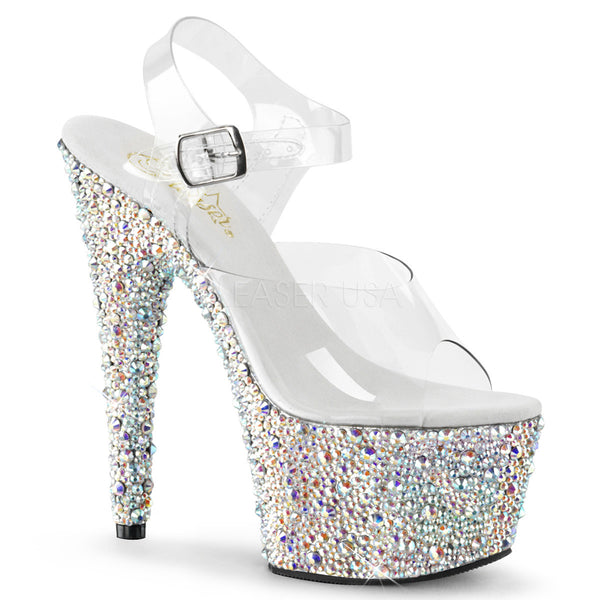 Pleaser BEJEWELED-708MS Clear Ankle Strap Sandals With Silver Multi Rhinestones Platform - Shoecup.com - 1