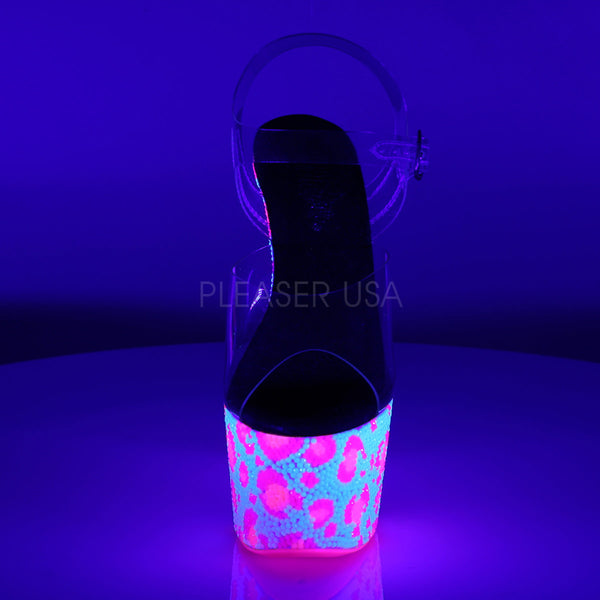 Pleaser BEJEWELED-708UVLP Clear Ankle Strap Sandals With Neon White-Neon Hot Pink Platform - Shoecup.com - 2