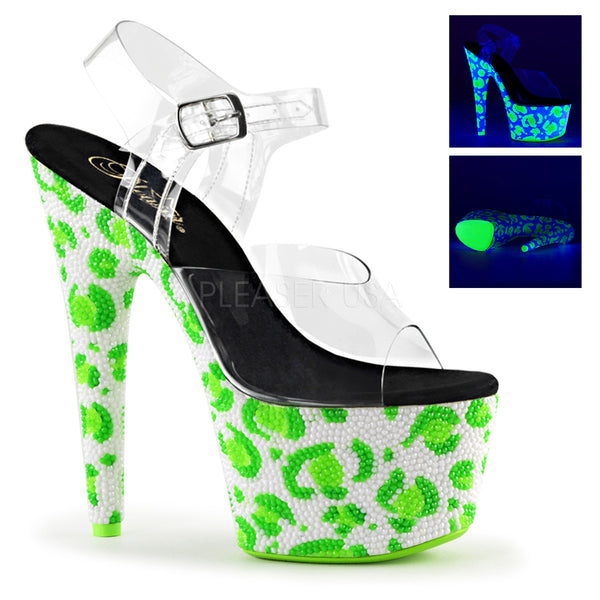 Pleaser BEJEWELED-708UVLP Clear Ankle Strap Sandals With Neon White-Neon Green Platform - Shoecup.com - 1