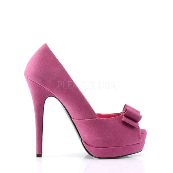 Pin Up Couture BELLA-10 Fuchsia Sueded Pu Peep Toe Pumps - Shoecup.com - 3