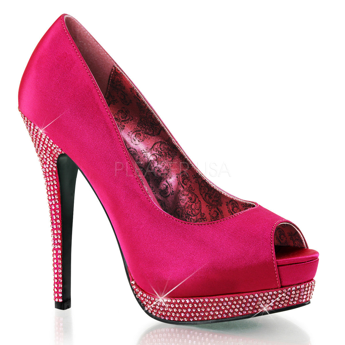 Bordello,BELLA-12R Hot Pink Satin Pumps - Shoecup.com