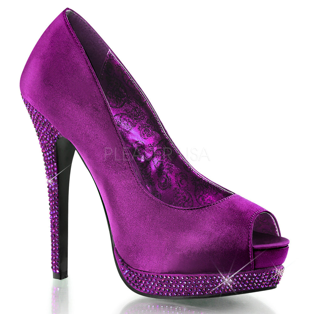 BELLA-12R Purple Satin Pumps