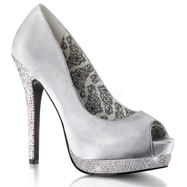 Bordello,BELLA-12R Silver Satin Pumps - Shoecup.com