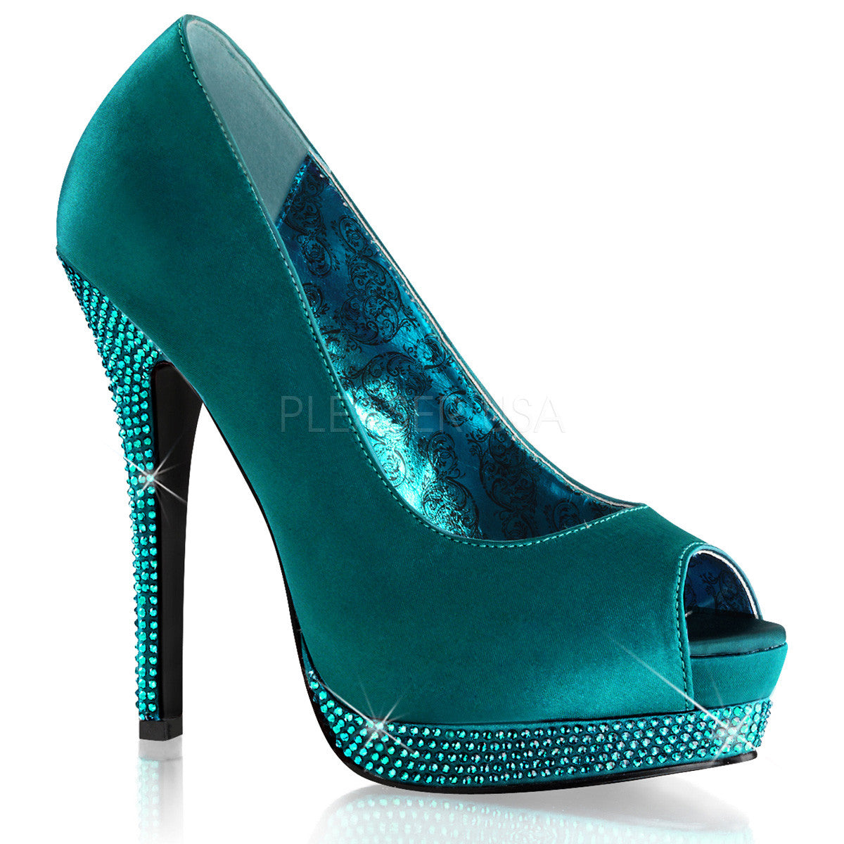 Bordello,BELLA-12R Turquoise Satin Pumps - Shoecup.com
