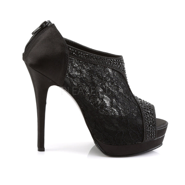FABULICIOUS BELLA-26 Black Satin-Lace Ankle Boots