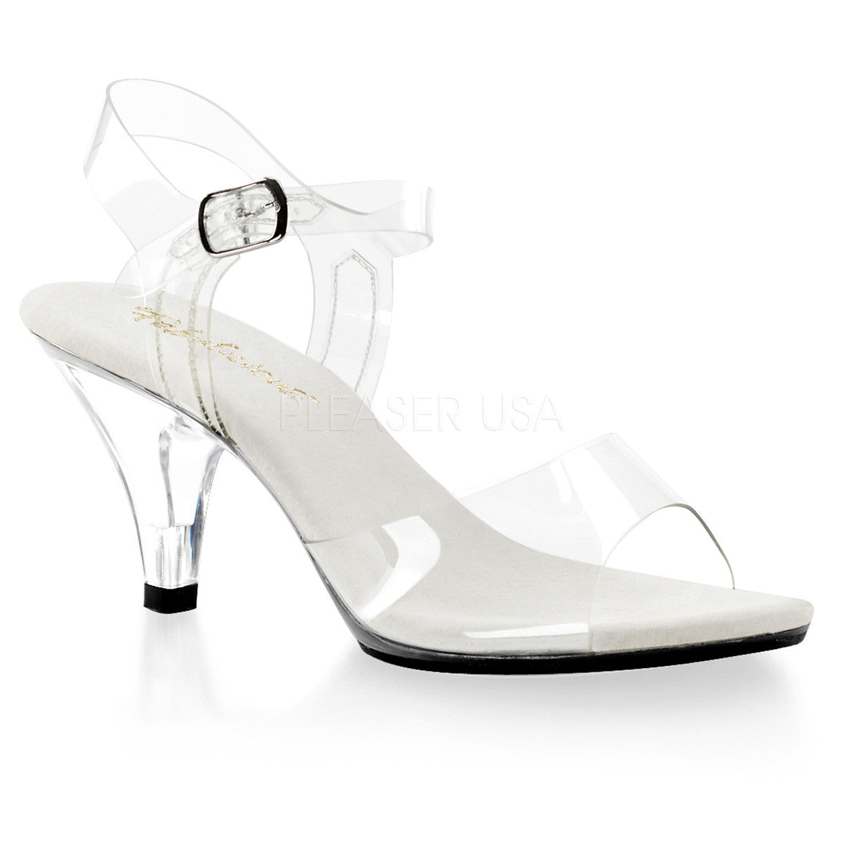 Fabulicious,Fabulicious BELLE-308 Clear Ankle Strap Sandals - Shoecup.com