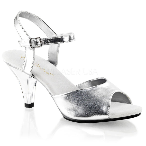 Fabulicious,Fabulicious BELLE-309 Silver Metallic Pu Ankle Strap Sandals - Shoecup.com