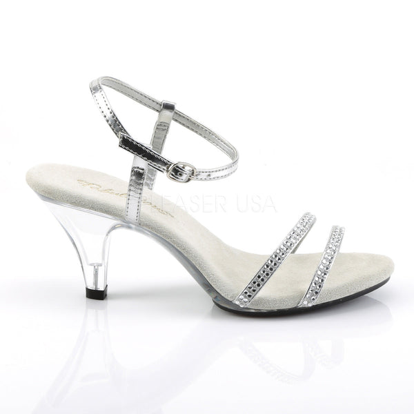Fabulicious BELLE-316 Silver Metallic Pu Ankle Strap Sandals