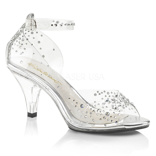 "3"" Heel Clear Rhinestone Open Toe Ankle Strap Sandal 