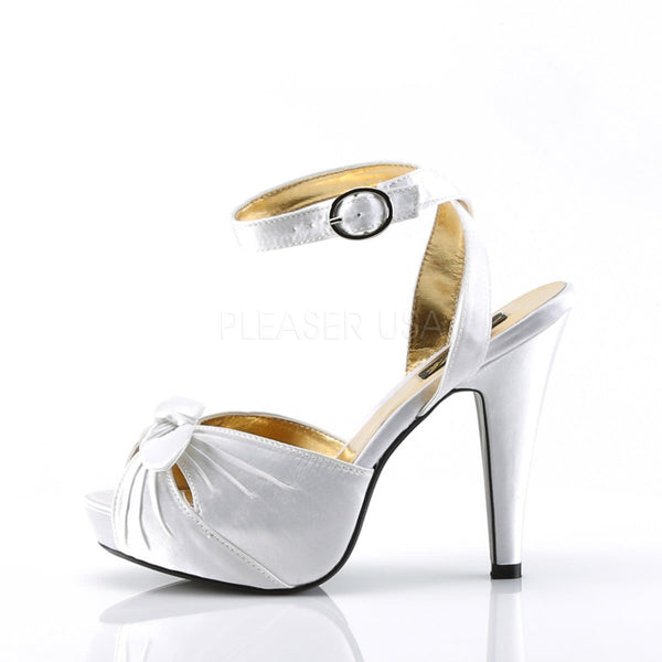 Pin Up Couture BETTIE-04 Ivory Satin Peep Toe Sandals - Shoecup.com - 2