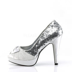 Pin Up Couture BETTIE-10 Silver Glitter-Satin Open Toe Pumps - Shoecup.com - 2