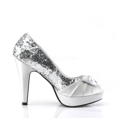 Pin Up Couture BETTIE-10 Silver Glitter-Satin Open Toe Pumps - Shoecup.com - 3