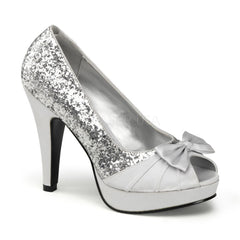 Pin Up Couture BETTIE-10 Silver Glitter-Satin Open Toe Pumps - Shoecup.com - 1