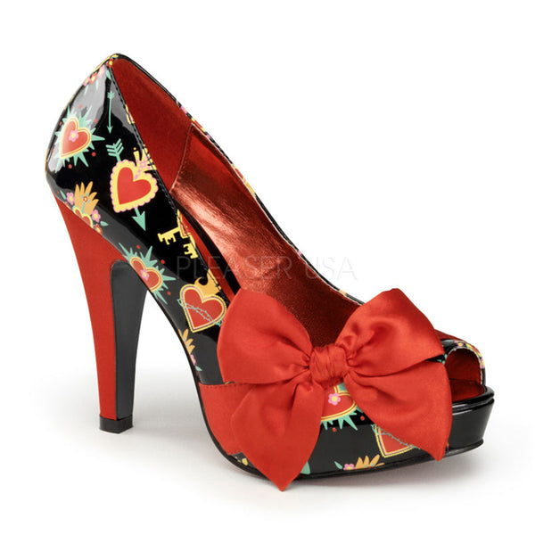 Pin Up Couture BETTIE-13 Black Patent-Red Satin (Sacred Hearts) Open Toe Pumps - Shoecup.com - 1