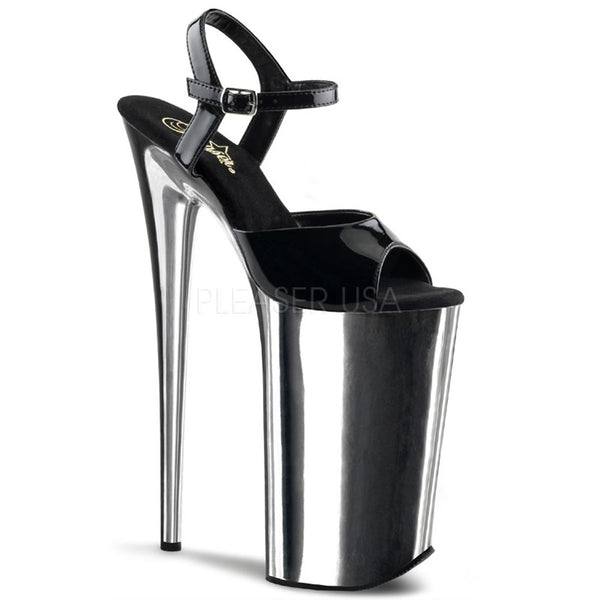 PLEASER BEYOND-009 Black-Silver Chrome Extreme 10 Inch High Heels - Shoecup.com - 1