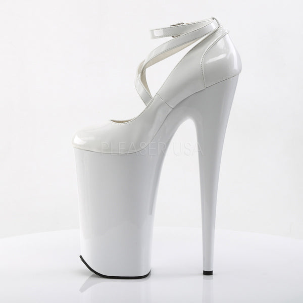 PLEASER BEYOND-087 White Extreme 10 Inch High Heels - Shoecup.com - 3