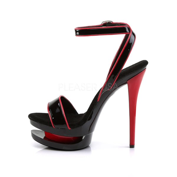 PLEASER BLONDIE-631-2 Black Red Pat-Black-Red Stiletto Sandals - Shoecup.com - 3
