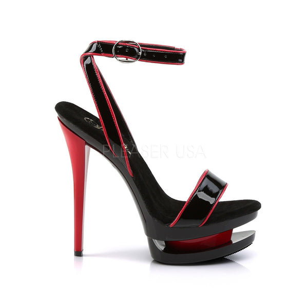 PLEASER BLONDIE-631-2 Black Red Pat-Black-Red Stiletto Sandals