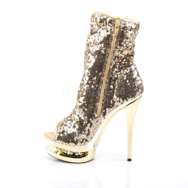 PLEASER BLONDIE-R-1008 Gold Sequins-Gold Chrome Ankle Boots - Shoecup.com - 3