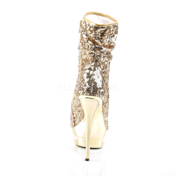 PLEASER BLONDIE-R-1008 Gold Sequins-Gold Chrome Ankle Boots - Shoecup.com - 4