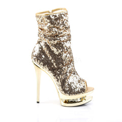 PLEASER BLONDIE-R-1008 Gold Sequins-Gold Chrome Ankle Boots