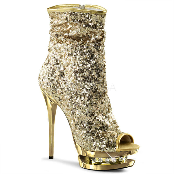 PLEASER BLONDIE-R-1008 Gold Sequins-Gold Chrome Ankle Boots - Shoecup.com - 1
