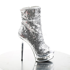 PLEASER BLONDIE-R-1008 Silver Sequins-Silver Chrome Ankle Boots