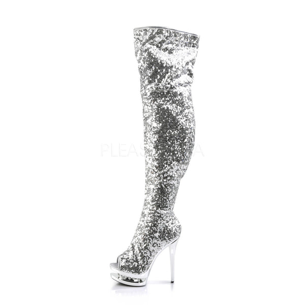 PLEASER BLONDIE-R-3011 Silver Sequins-Silver Chrome Knee High Boots - Shoecup.com - 3