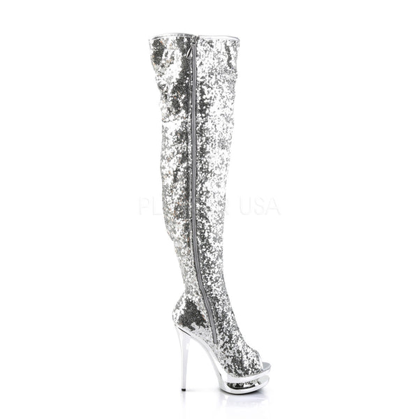 PLEASER BLONDIE-R-3011 Silver Sequins-Silver Chrome Knee High Boots