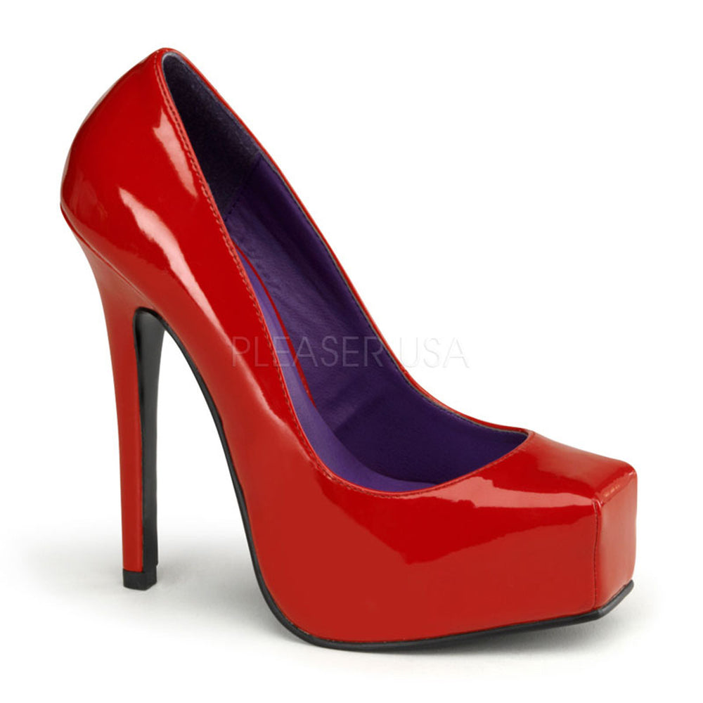DEVIOUS BONDAGE-01 Red Pat Square Toe Pumps