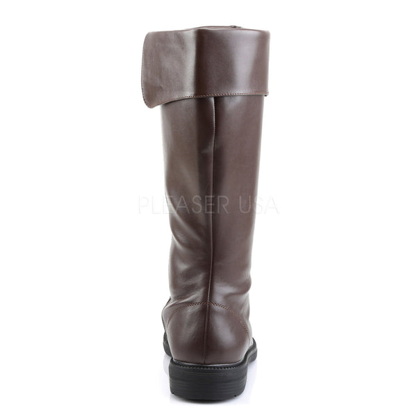 Men's Brown Pu Knee High Costume Boots