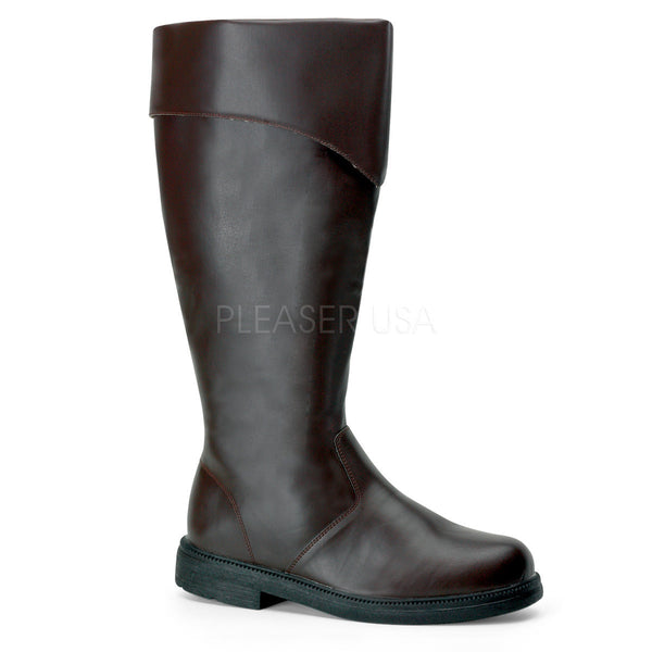 Men's Brown Pu Knee High Costume Boots - Shoecup.com