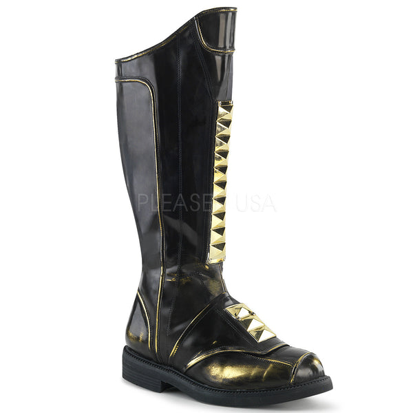 "1"" (25mm) Stacked Heel Men's Knee High Boot Paramid Panel at Center Front, Full Inner Side Zip Closure