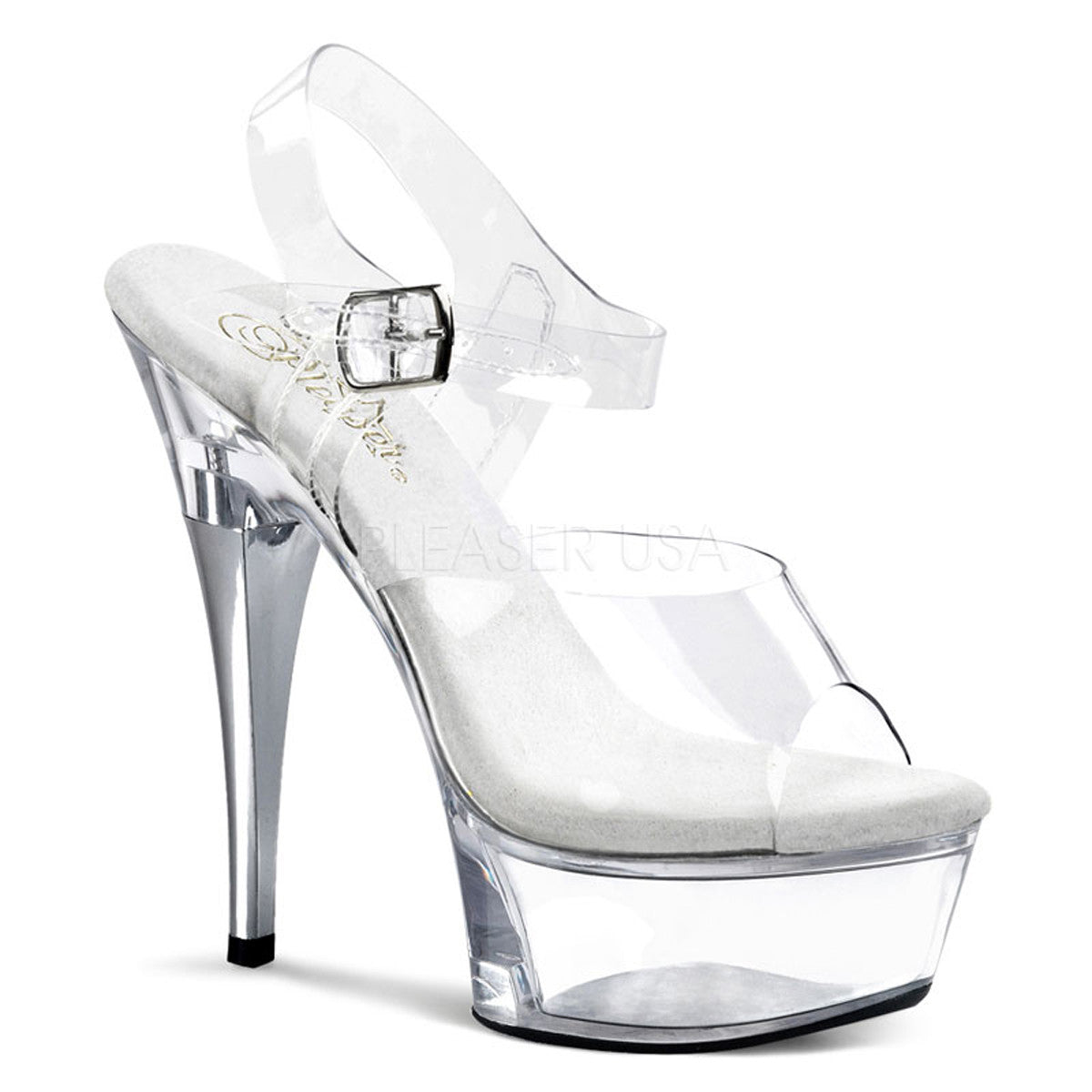 PLEASER CAPTIVA-608 Clear Ankle Strap Sandals - Shoecup.com - 1