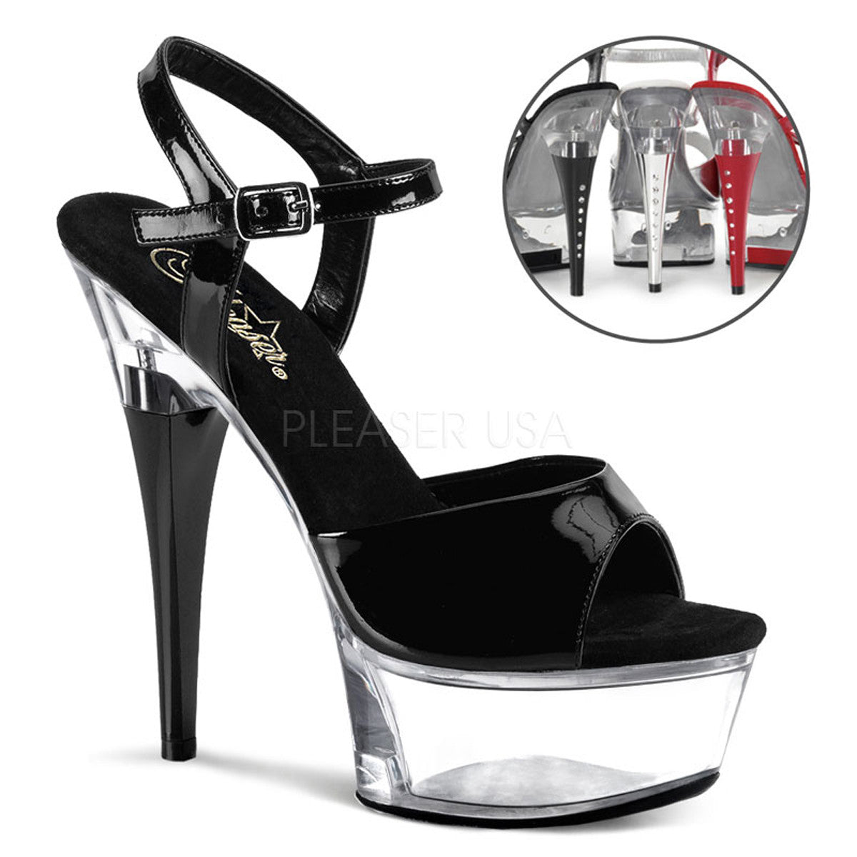 PLEASER CAPTIVA-609 Black Pat-Clear Ankle Strap Sandals - Shoecup.com - 1