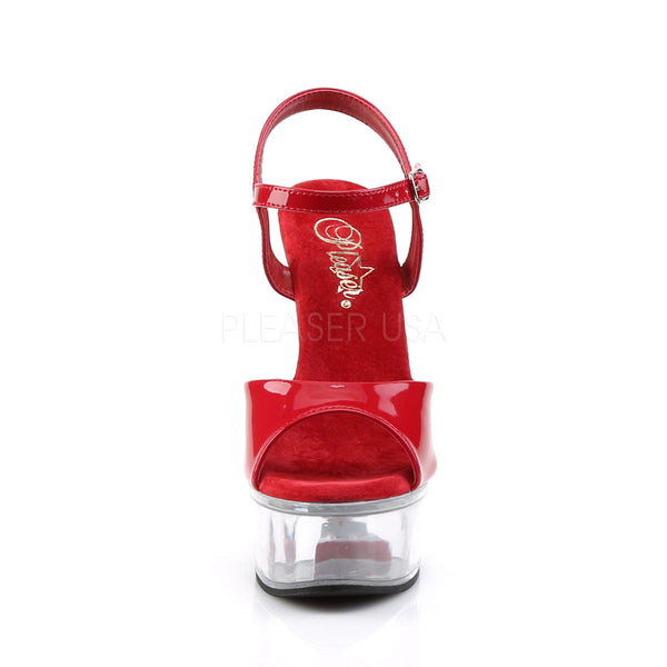 PLEASER CAPTIVA-609 Red Pat-Clear Ankle Strap Sandals - Shoecup.com - 2