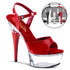 PLEASER CAPTIVA-609 Red Pat-Clear Ankle Strap Sandals - Shoecup.com - 1