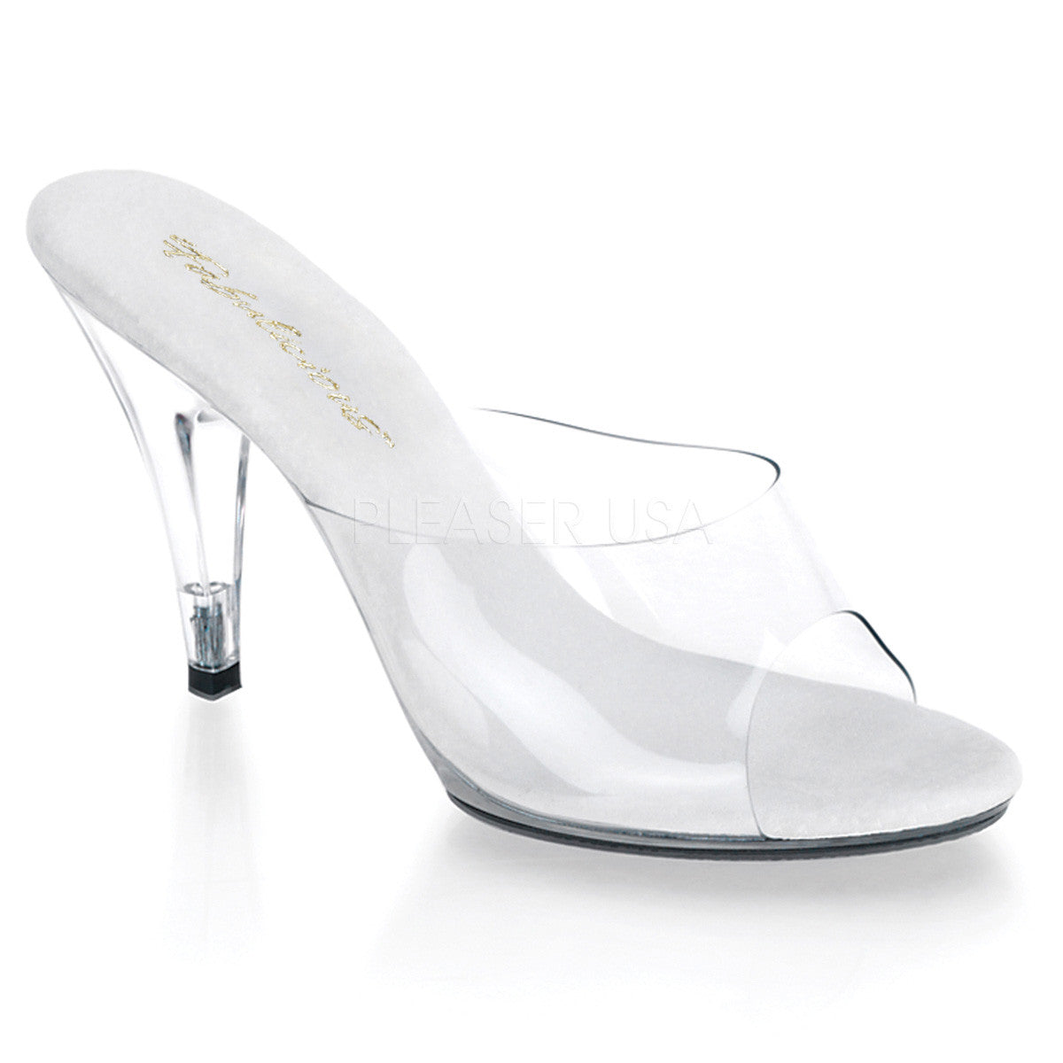 Fabulicious,FABULICIOUS CARESS-401 Clear-Clear Stiletto Slides - Shoecup.com