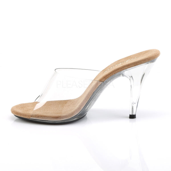 FABULICIOUS CARESS-401 Clear-Tan-Clear Stiletto Slides