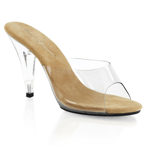 Fabulicious,FABULICIOUS CARESS-401 Clear-Tan-Clear Stiletto Slides - Shoecup.com