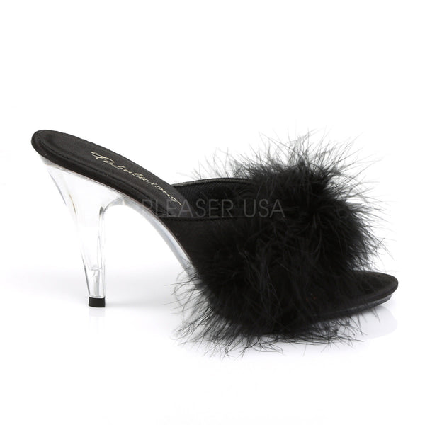 FABULICIOUS CARESS-401F Black Satin-Fur-Clear Sandals