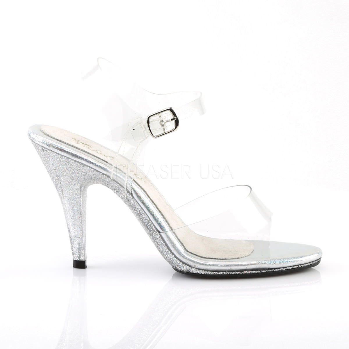 2d4114ec9d4 Fabulicious CARESS-408MG Clear Ankle Strap Sandals With Glitter Bottom.  Previous