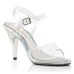 Fabulicious CARESS-408MG Clear Ankle Strap Sandals With Glitter Bottom - Shoecup.com