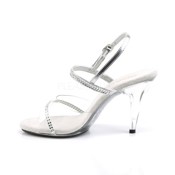 FABULICIOUS CARESS-439 Clear-Silver Metallic Pu-Clear Slides